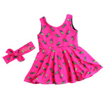hot pink girls pineapple dress with name embroidered top knot headband