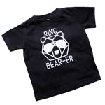 black and white ring bearer tshirt with bear in sunglasses