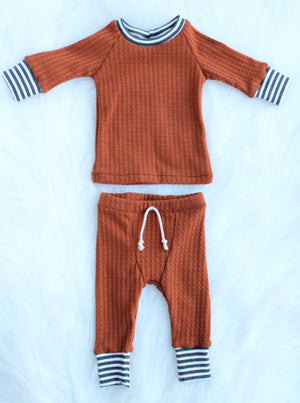 waffle knit newborn boy shirt and pants set