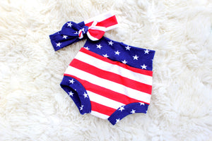 flat lay of stars and stripes diaper cover and headband