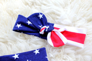closeup of american flag headband