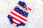 shorts and headband set for girls in red white and blue stars and striped fabric