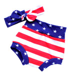 red white and blue american flag bummie shorts and top knot headband set