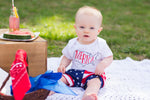 Baby boy sitting wearing Merica bodysuit and american flag shorts