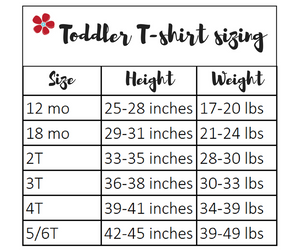 toddler t-shirt sizing from Tailored by Torrey