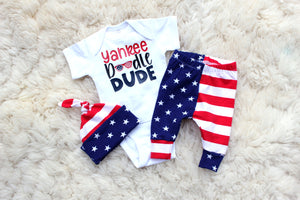 yankee doodle dude american flag pants and top knot hat set