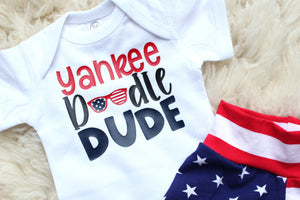 yankee doodle dude bodysuit with american flag sunglasses