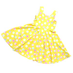 yellow swing dress for girls with pink modern dots