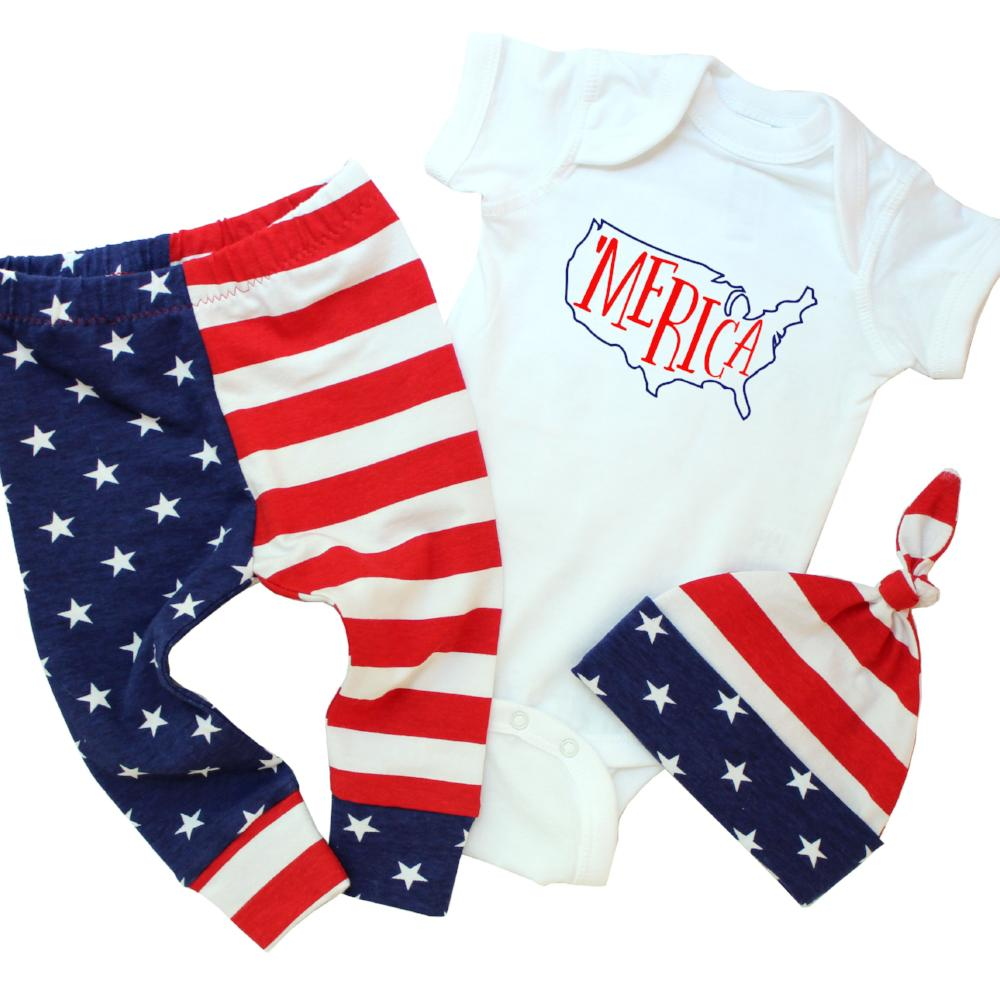 3 piece outfit with merica shirt and matching red, white and blue top knot hat and leggings baby boy memorial day outfit