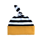 black and white newborn baby hat with mustard band