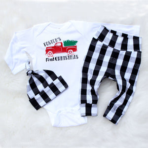 white and black buffalo check personalized name first christmas outfit for baby boy