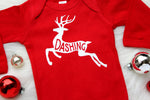 red bodysuit with white reindeer dashing