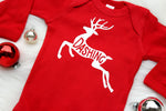 """Dashing"" red Christmas bodysuit for baby boy with reindeer"