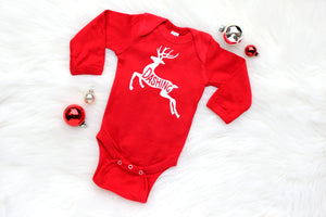 "red longsleeved baby boy bodysuit with ""dashing"" reindeer"