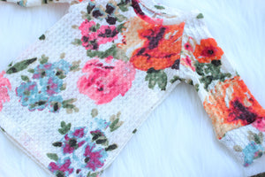 floral top for baby girls in waffle knit material