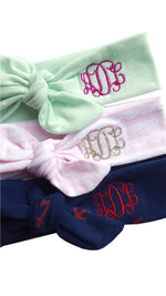 monogrammed top knot headbands