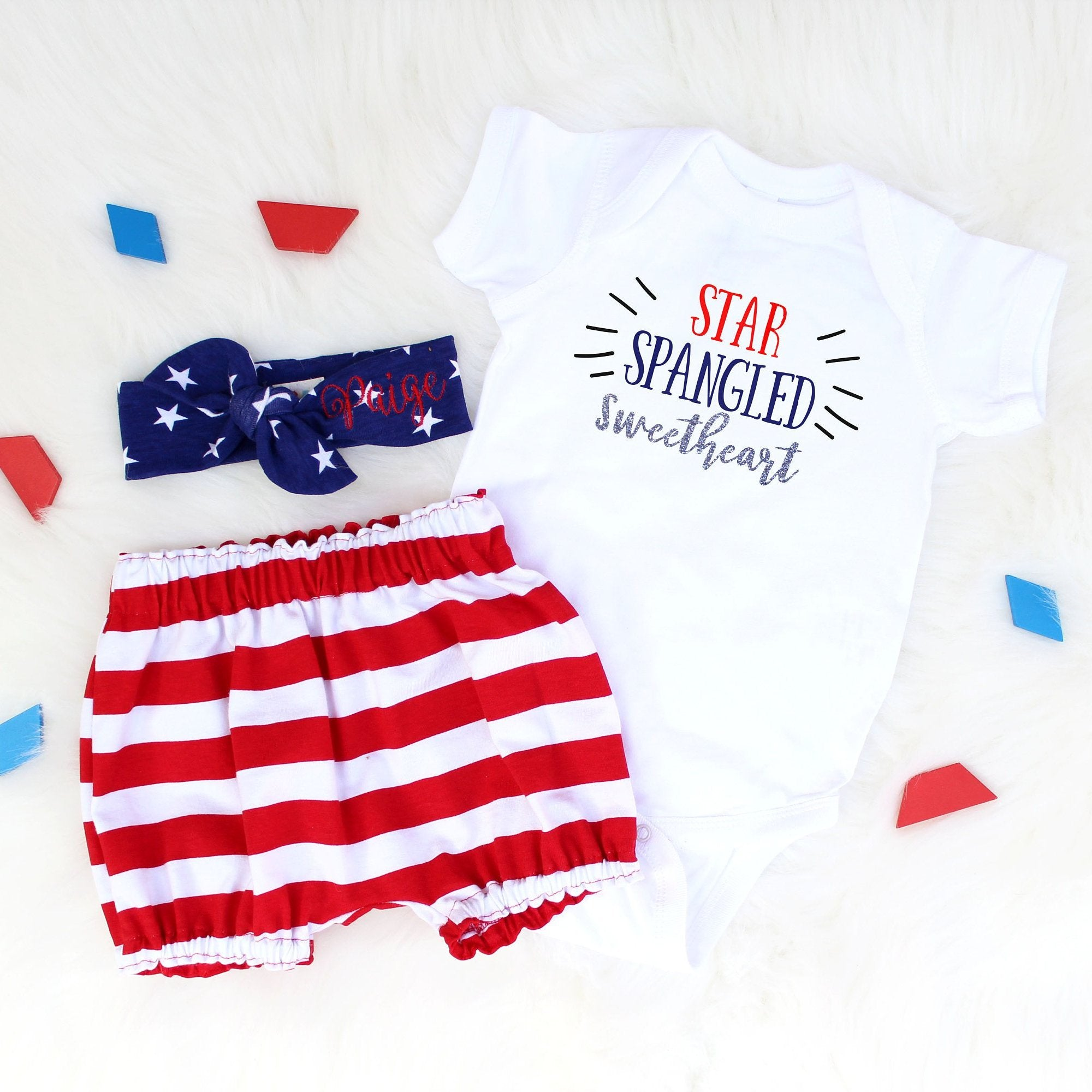 3 piece memorial day set for baby or toddler girl in red white and blue