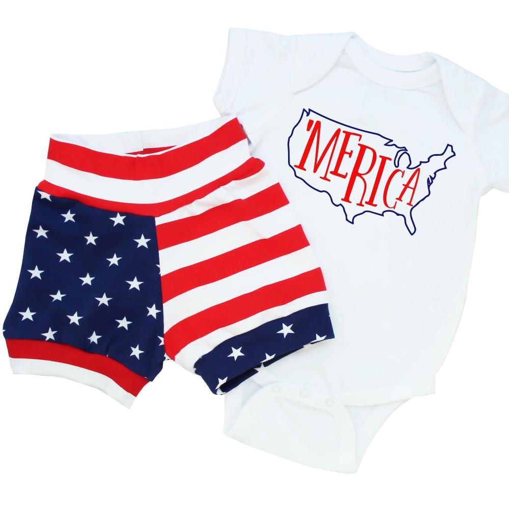 american flag shorts and 'Merica bodysuit in the shape of the united states baby boy flag clothes