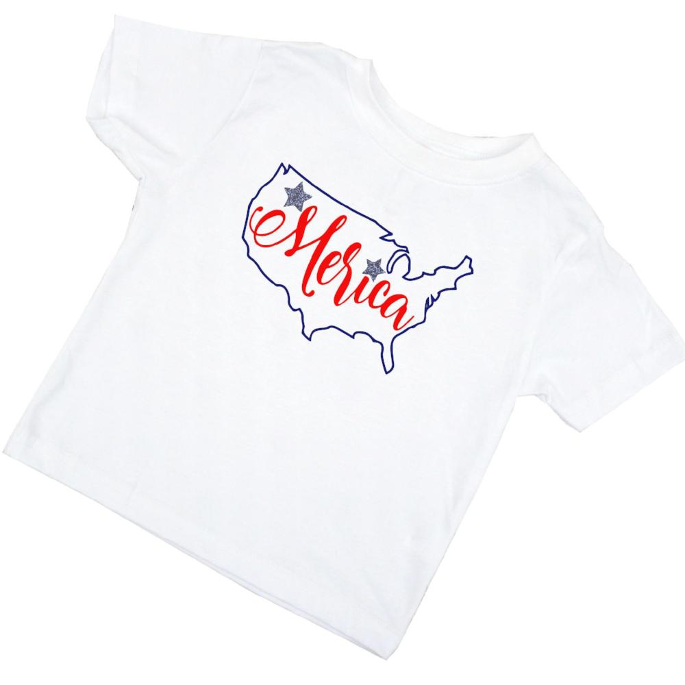 'Merica red glitter tshirt design on white tshirt