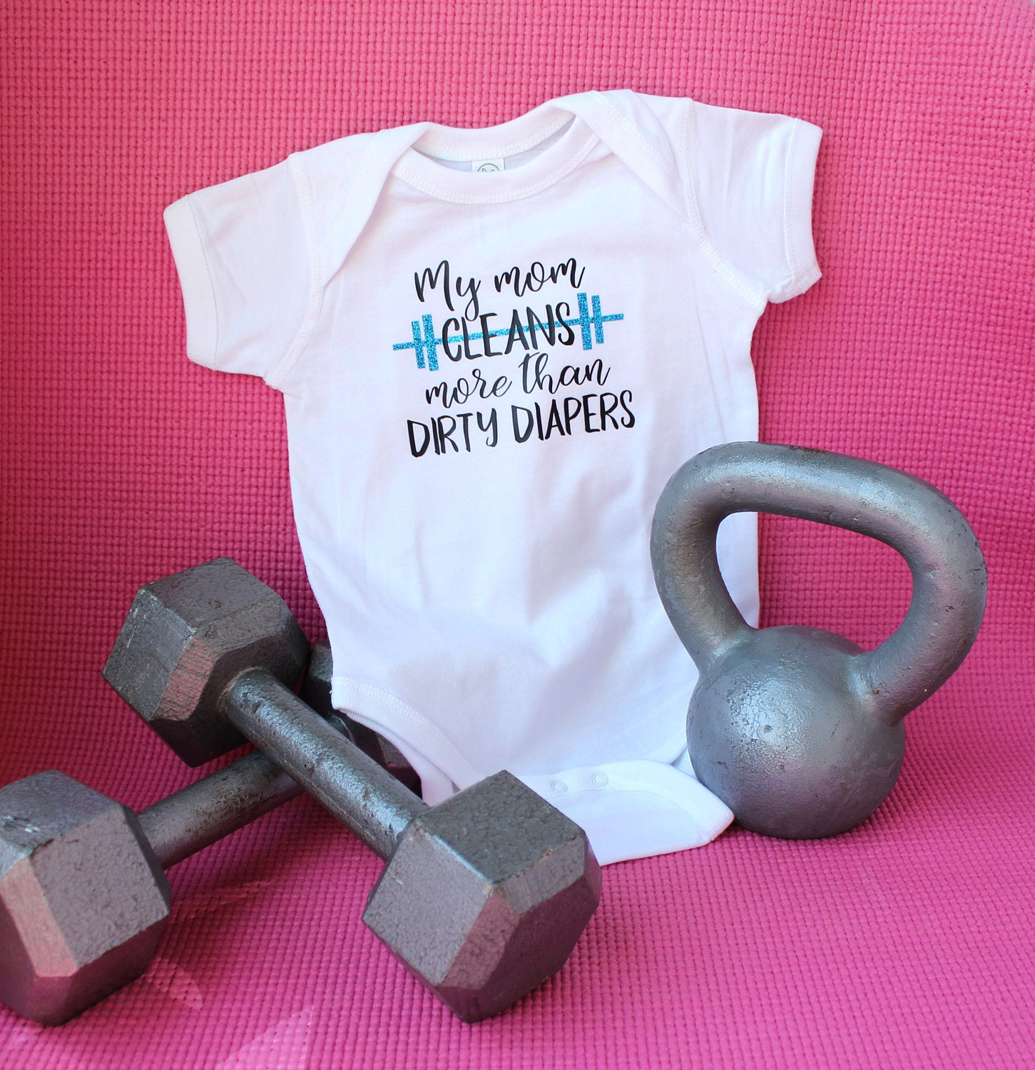 full view of baby bodysuit for workout