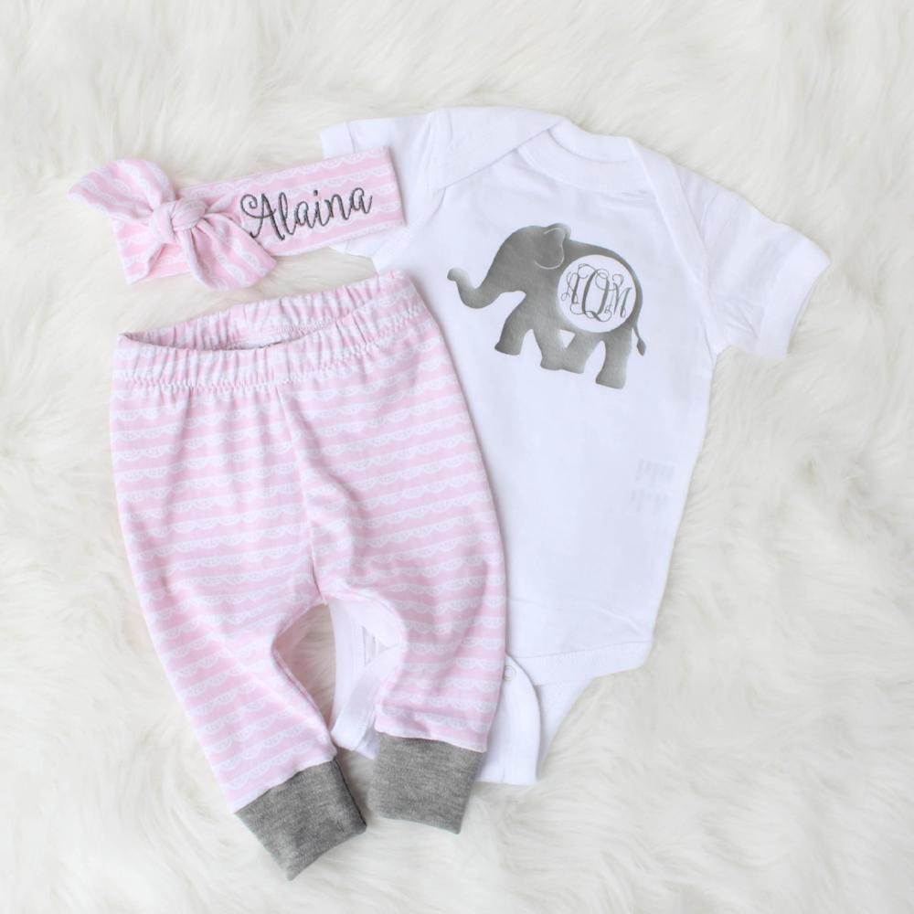 Alaina personalized top knot headband with matching leggings and personalized bodysuit with elephant decal