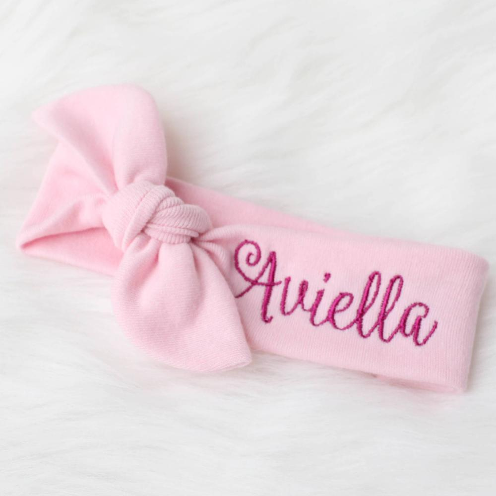 aviella pink thread on pink top knot headband