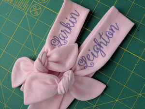 Larkin and Leighton pink top knot headbands