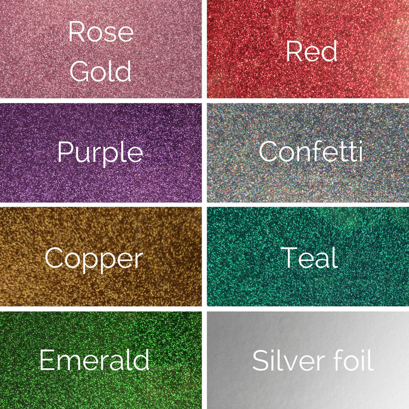 rose gold, red, purple, confetti, copper, teal, emerald and silver foil color options