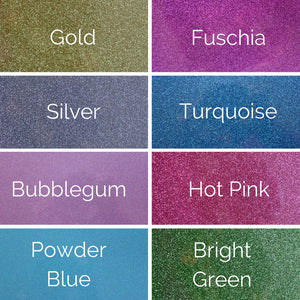 gold, fuschia, silver, turquoise, bubblegum, hot pink, powder blue, bright green color options