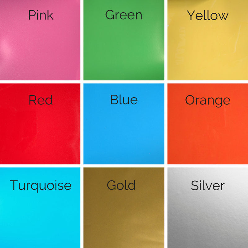 pink, green, yellow, red, blue, orange, turquoise, gold, silver color chart