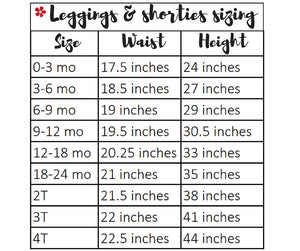 Tailored by Torrey leggings and shorties sizing chart