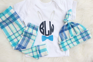 Blue plaid set for boys with monogram personalized bunny white bodysuit