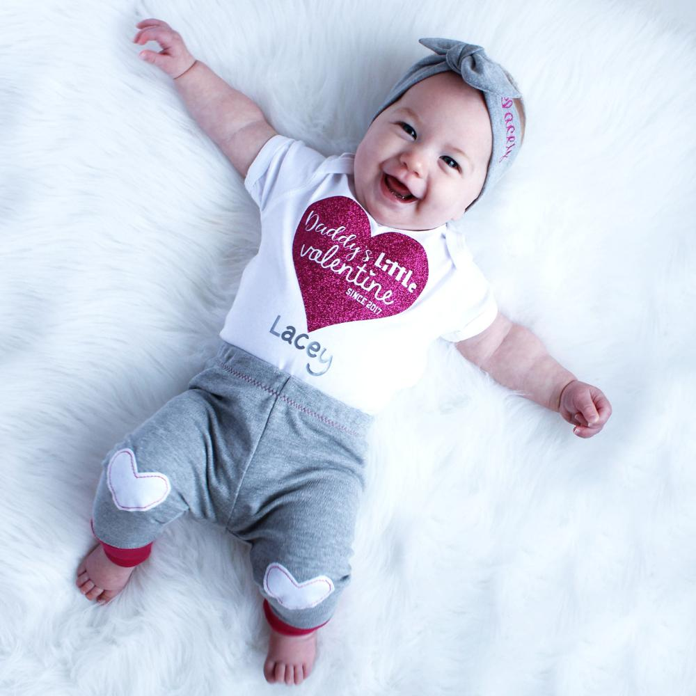 Daddy's Little Valentine baby girl valentine outfit with bodysuit, leggings and topknot headband