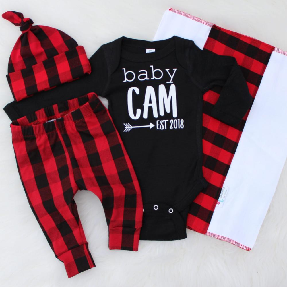 baby Cam est. 2018 black baby bodysuit with matching buffalo plaid leggings and top knot hat