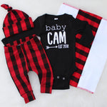 baby Cam est. 2018 black baby bodysuit with matching buffalo plaid leggings and top knot hat baby boy sets