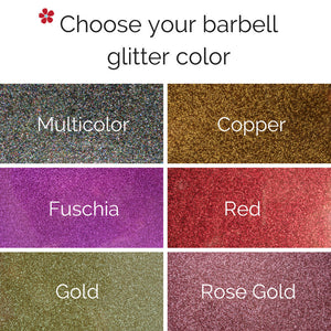 Choose your barbell glitter color copper multicolor fuschia red gold rose gold
