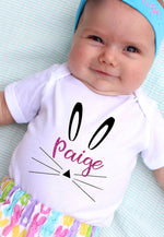 Child wearing personalized name bunny bodysuit