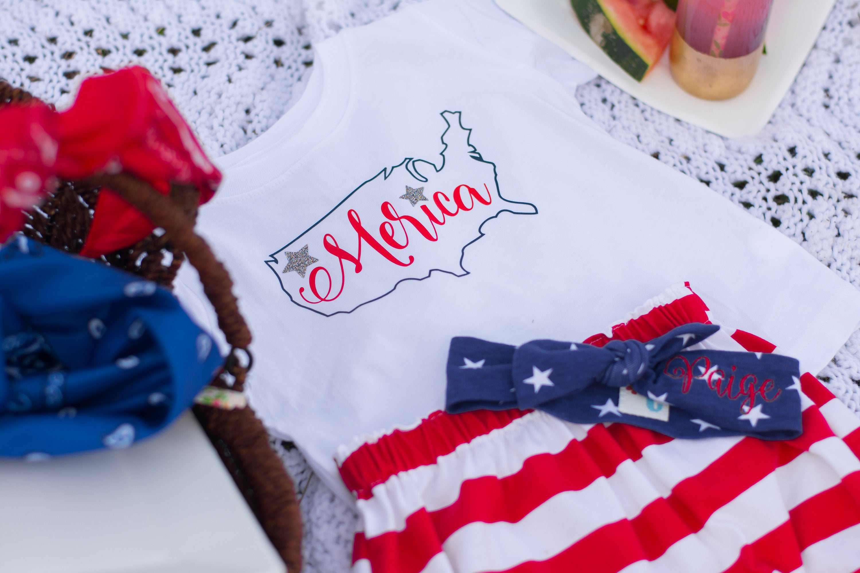 Merica tshirt with blue star personalized top knot headband and red striped bloomers or bubble shorts