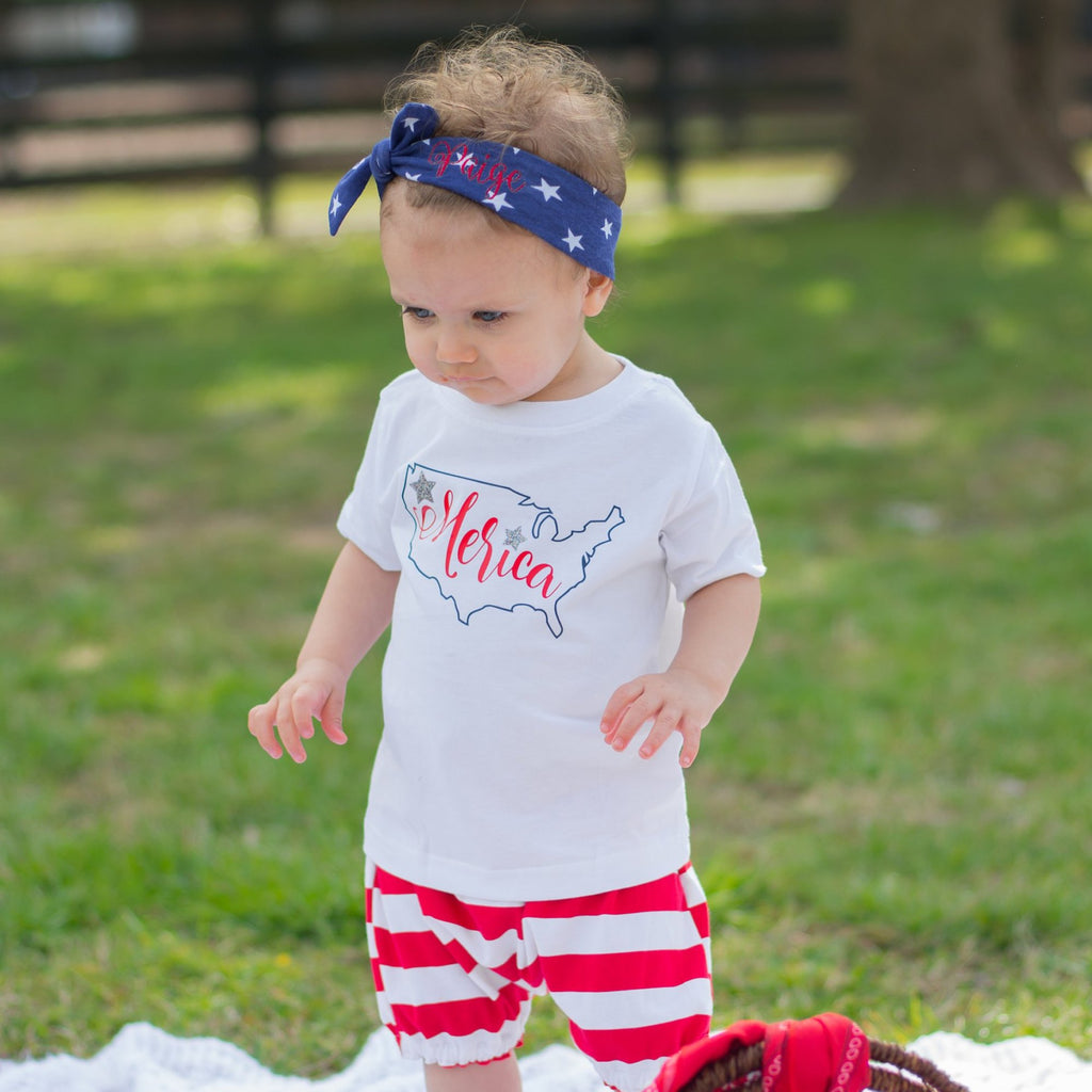 toddler girl wearing red white and blue merica set