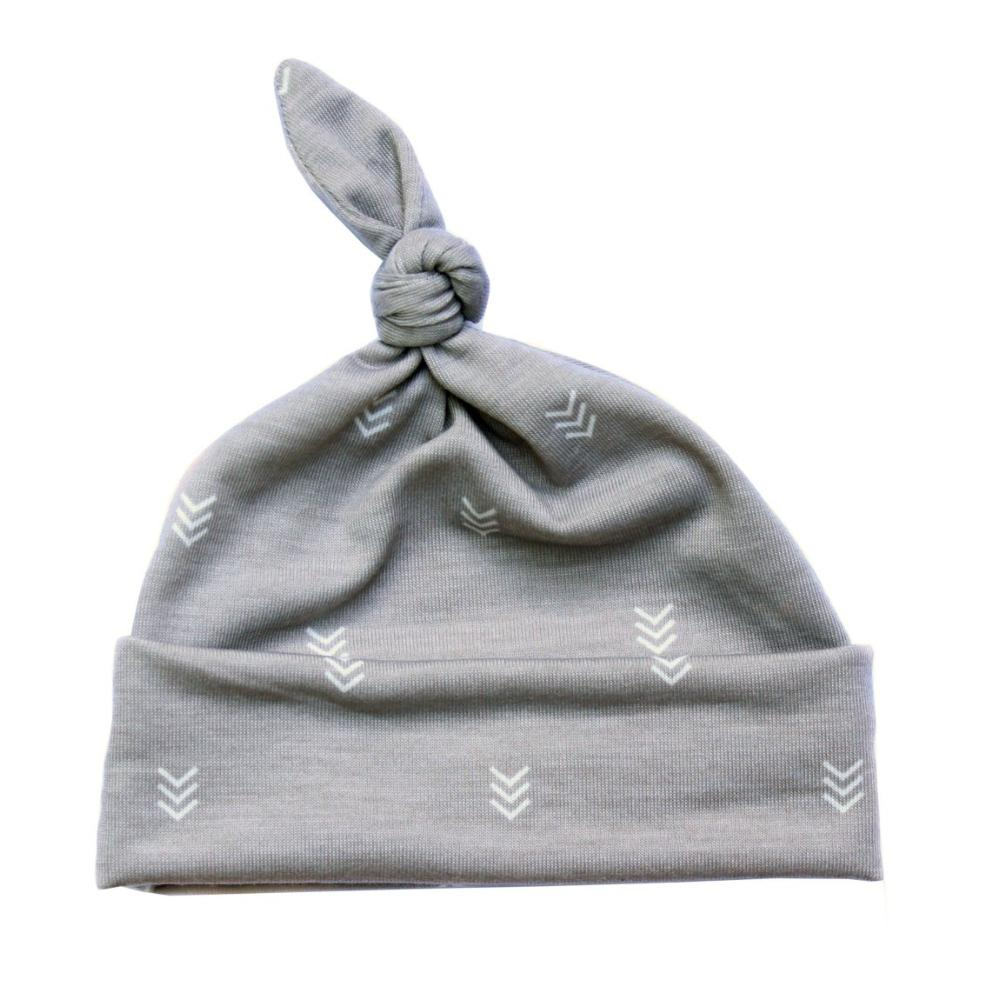 gray chevron top knot hat for baby