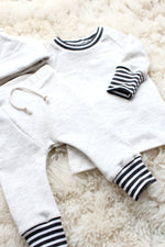 sweat suit outfit for newborn baby boy in oatmeal cream with grey striped cuffs
