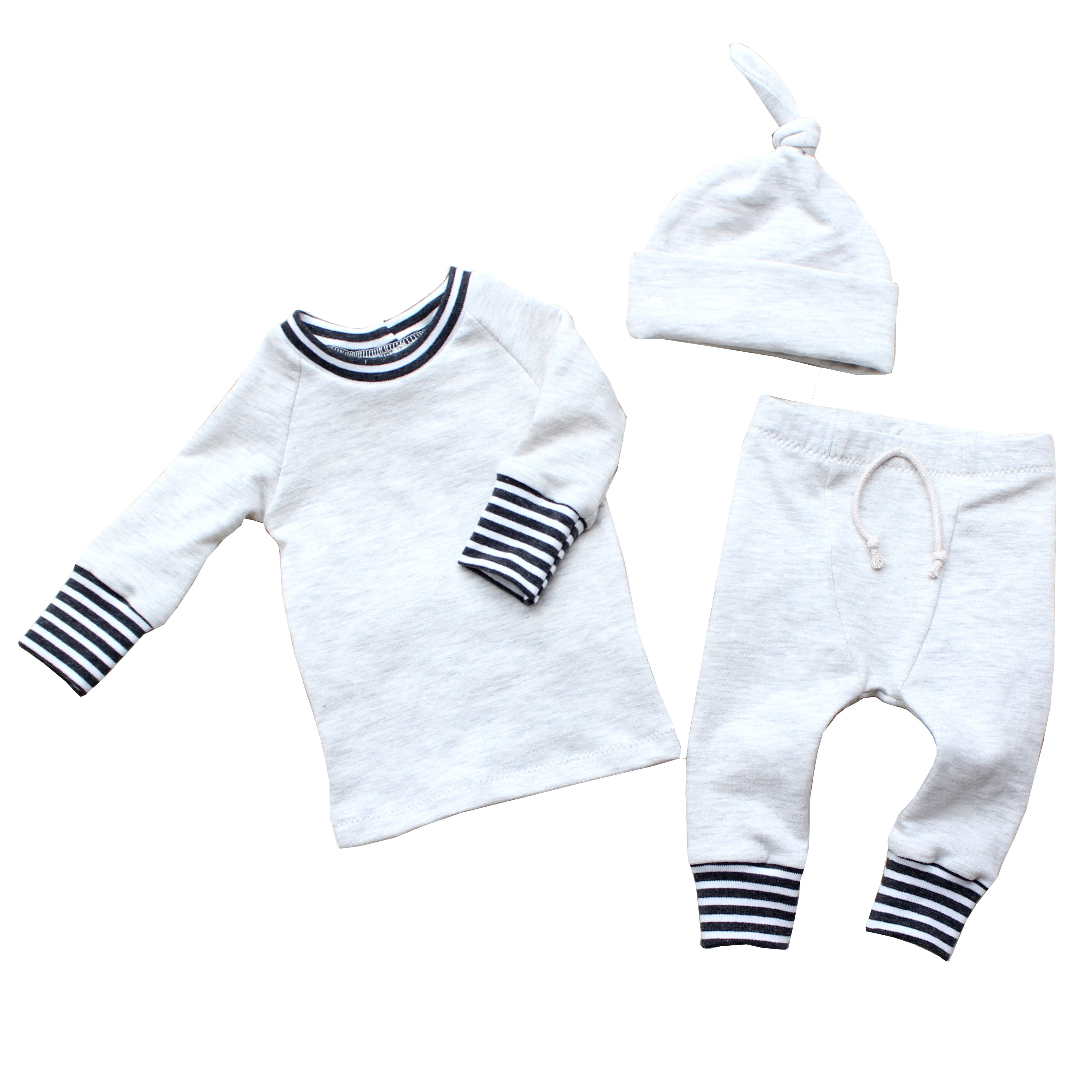 baby boy outfit in oatmeal with charcoal grey stripes