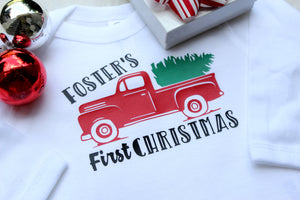 first christmas shirt for boy with red vintage truck and christmas tree