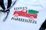 personalized baby's first christmas bodysuit with red vintage truck with christmas tree