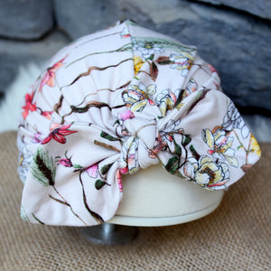 bow turban hat in wildflower print