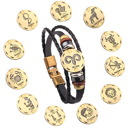 Leather 12 Constellations Zodiac Bracelet