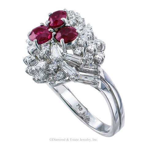 Ruby Diamond White Gold Cocktail Ring