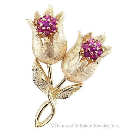 Ruby Tulip Yellow Gold Brooch