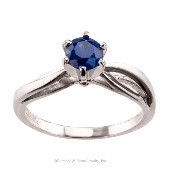 Sapphire White Gold Engagement Ring - Jacob's Diamond and Estate Jewelry