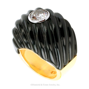 Black Jade Diamond Yellow Gold Cocktail Ring - Jacob's Diamond and Estate Jewelry